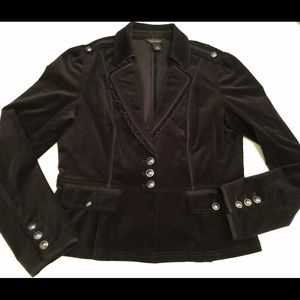 Black Velvet Military Jacket WHBM size 12